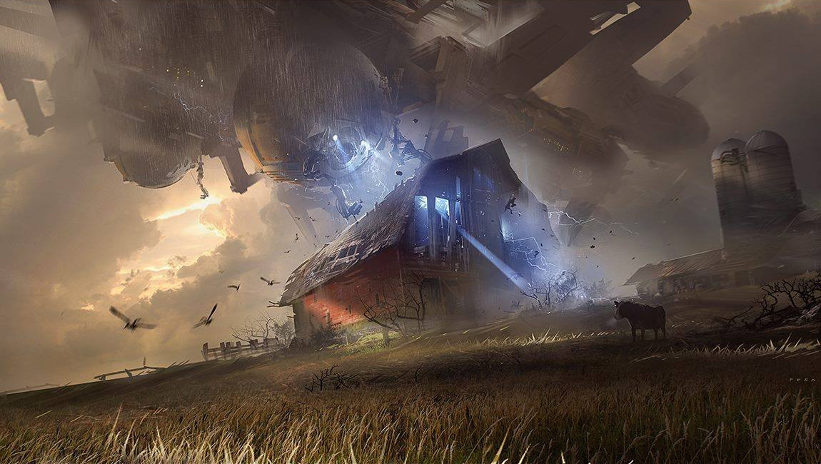 A giant ship hovers above a traditional red barn and pierces it with a blue beam - as in all space operas, the farm must be crisped to provide some appropriate angst.