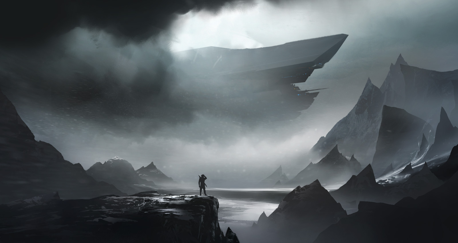The prow of the carrier broke through the clouds, and he paused on the cliff, wondering if he could make it across the expanse of ice before he was spotted. Space opera in the arctiiiiic!
