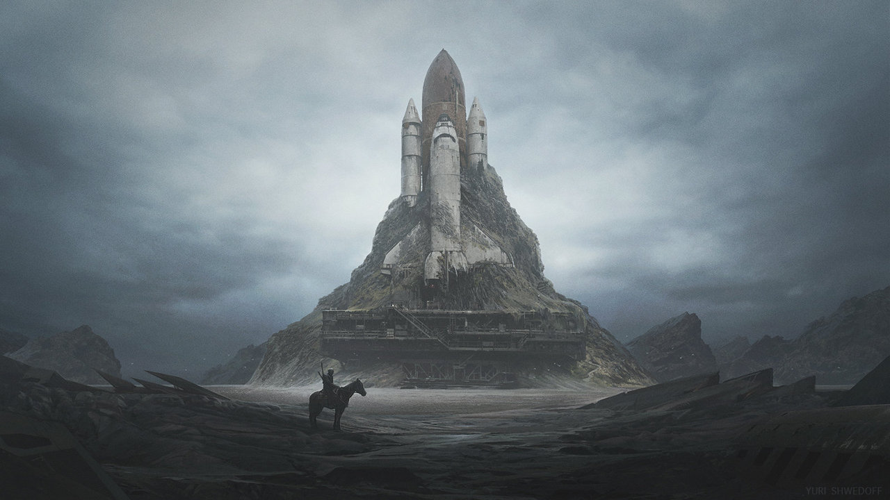 The relic of the space shuttle, transformed into a castle with a knight in the foreground, is a great example of good space opera. Neither fantasy nor pure science fiction, but a combination of imagination, adventure, and what if.