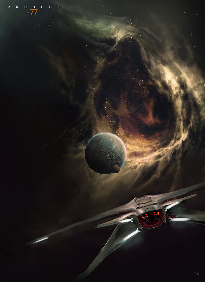 We see the thrusters of a sleek spaceship as it approached a planet - one that hovers just outside a whirling vortex of gas and stars. This is pure space opera goodness, folks, right there.