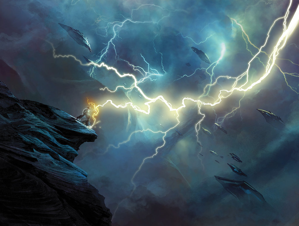 Pure space opera glory - the hero stands on the ledge, lightning coruscating around him, space ships hovering in the dark clouds. Either that, or it's a really seriously alternate history of Benjamin Franklin. Way to go, ben, I want to write a superhero story about you like that.