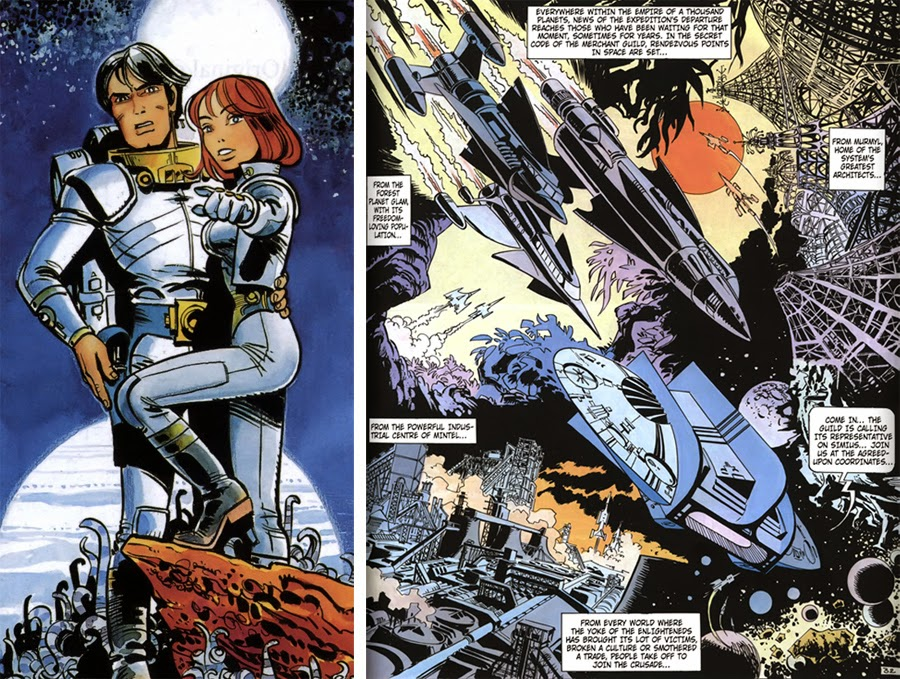 The man and woman in epic poses together is very reminiscent of Star Wars posters, and the general scale and retro-future look of the ships is classic space opera styling